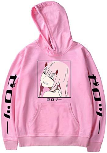 MINIDORA Sudadera con Capucha para Hombre Darling in The FRANXX Code: 002 Jersey de Moda Estampado de Manga Larga Sudaderas Unisex L,Rosa 1587