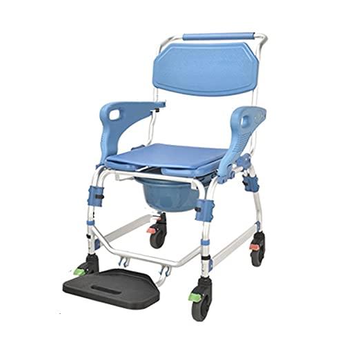 Toilette Duschstuhl, Multifunktionaler Pflegerollstuhl Toilettenstühle Behinderter Älterer Kommoden-Badstuhl für Medizinische Hilfe für Kranke Patienten, Ältere und Behinderte Menschen