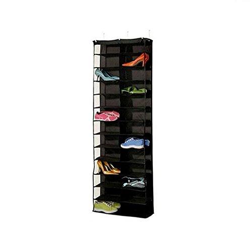 zoomlie Rangement porte à porte 26 poches, multifonctionnel, multi-couches, étagère à chaussures, meuble de rangement à chaussures, non tissé, PVC ultra pur, 56 x 16 x 160 cm, blanc