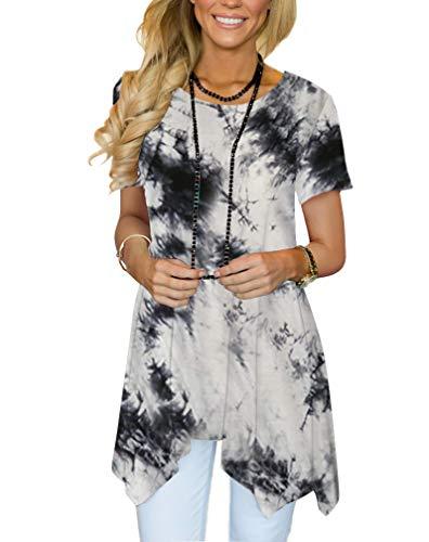 MIROL Womens Summer Short Sleeve Floral Print Irregular Hem Asymmetrical Loose Fit Tunic Tops...