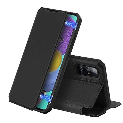 DUX DUCIS Hülle für Samsung Galaxy A51, Premium Leder Magnetic Closure Flip Schutzhülle handyhülle für Samsung Galaxy A51 Tasche (Schwarz)