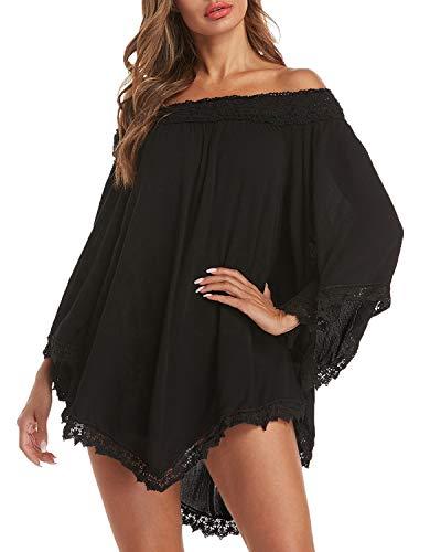 ZANZEA Damen Schulterfrei Langarm Mini Kleider mit Spitze Asymmetrisch Shirt Oversize Tops Schwarz EU 42-44/Etikettgröße L