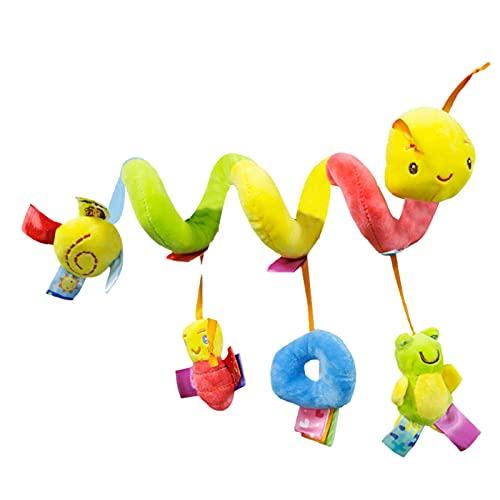 Espiral de actividades de peluche colgante en forma de espiral, para colgar al cochecito, con juguetes para colgar en el cochecito, adecuado desde el nacimiento