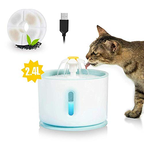 Udream Pet Water Fountain with Water Level Window 2.4L Ultra Silent Cat Fountain with LED Night vision Waterfall Flower Style Fountain, 3 Modes Drinking Fountain, with 2 Carbon Filter (Blue)