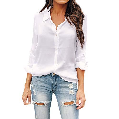 Blusa de Mujer Camisa de Manga Larga para Mujer Formal Oficina Trabajo Uniforme Señoras Casual Tops Camisetas de Manga Larga de Solapa de Moda para ZODOF Mujer Shirt