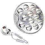 Cabilock Juego de utensilios de acero inoxidable Escargot ESS de metal para caracoles, alicates, 12 orificios, placa, alicates, platos, escargot, vajilla para el hogar, barbacoa, restaurante