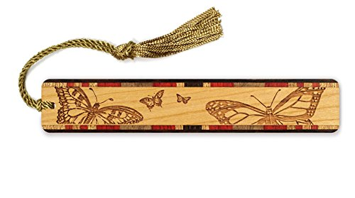 Butterflies Engraved Wooden Bookmark with Tassel - Search B07GC87HDF for Personalized Version