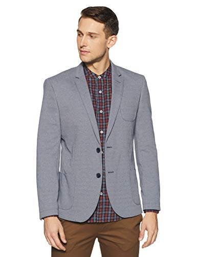 United Colors of Benetton Men's Notch Lapel Regular Fit Blazer (18A2FSIC2061I_901_L_Blue_Blue)