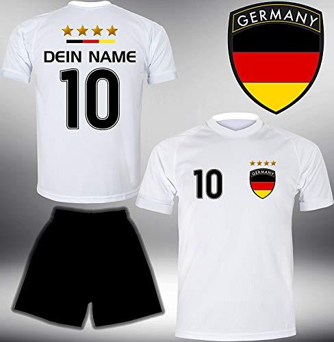 Deutschland Trikot Set 2018 mit Hose GRATIS Wunschname + Nummer im EM WM Weiss Typ #DE1th - Geschenke für Kinder Erw. Jungen Baby Fußball T-Shirt Bedrucken