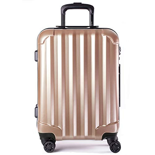 Genius Pack Hardside Luggage Spinner - Smart, Organized, Lightweight Suitcase - TSA Approved Cabin Size (Supercharged - Rose Gold)