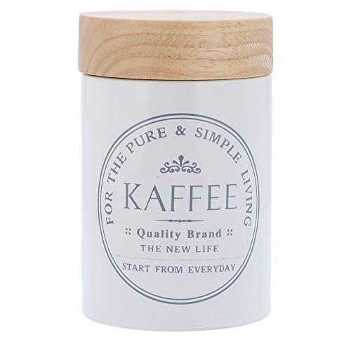KHG Kaffeedose Vorratsdosen aus weißer Keramik mit Holz-Deckel