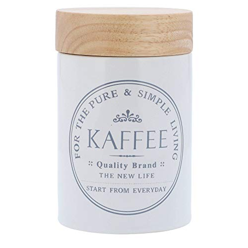 Kaffeedose Vorratsdosen aus weißer Keramik mit Holz-Deckel