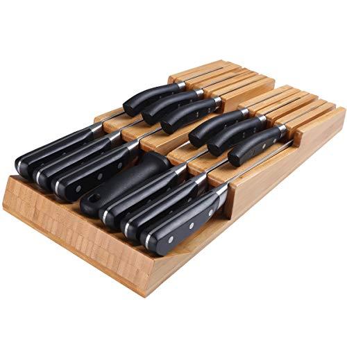 Portacuchillos NIUXX de Bambú Natural, Práctico Portacuchillos de Cocina, Portacuchillos con Ranura para Cuchillos Desmontable, Portacuchillos de Prima con Capacidad para 12 Cuchillos (Sin Cuchillos)