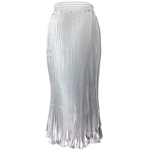 MiaoFan vrouwen hoge taille elastische uitbreiding Victoria geplooide rok retro casual Maxi lange jurk