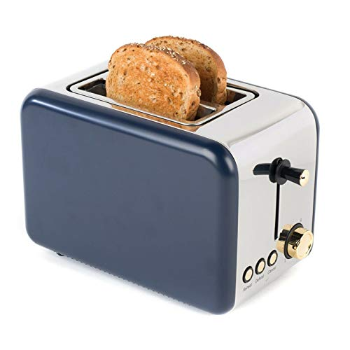 Salter Metallics Polaris 2-Slice Toaster, 850 W, Navy Blue/Gold