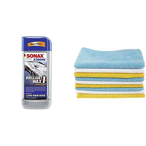 SONAX 201200 Xtreme BrilliantWax 1 Hybrid NPT, 500 ml & AmazonBasics Mikrofaser-Reinigungstücher, 24 Stück