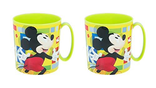 3531; lote de 2 tazas microondas Mickey Mouse; productos reutilizables; apto para microondas. No BPA; capacidad 350 ml