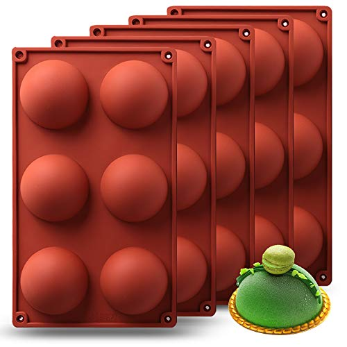 Sphere Silicone Mold, 5Packs Baking Mold for Making Hot Chocolate Bomb, Cake, Jelly, Dome Mousse 2.7'