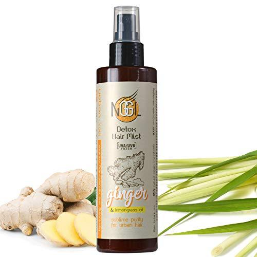 NGGL Brume capillaire à protection UV détoxifiante et purifiante vegan, enrichie en extrait de gingembre et huile de citronnelle, 200 ml