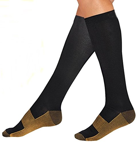 Bcurb Graduated Compression Socks Calf High Men Women Support Recovery Stocking (Small/Medium,...