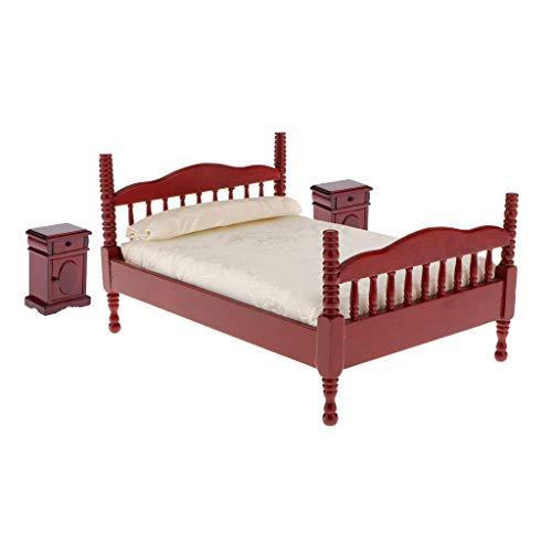 sharprepublic 1:12 Escala Casa de Muñecas Miniaturas Dormitorio Cama Doble Juegos de Mesita de Noche