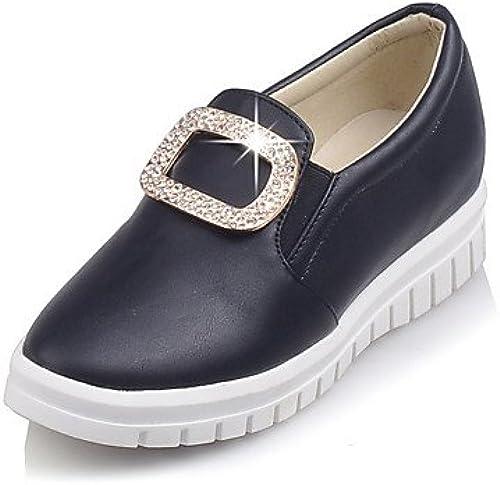 GGX  Chaussures Femme-Habillé-Noir    Rose   Blanc-Talon Compensé-Talons   Bout Arrondi-Chaussures à Talons-Similicuir  sports chauds