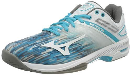 Mizuno Wave Exceed Tour 4 AC, Zapatos de Tenis Mujer, Wht Scuba-Pantalla para Lámpara de Techo, Color Azul, 42.5 EU