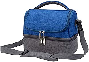 Durable Insulated Lunch Bag - Leakproof Blue Lunch Box Keep Food Hot or Cold, Work or School, Detachable Shoulder Strap
