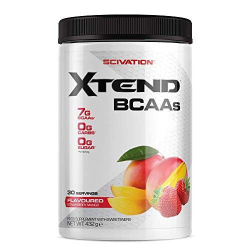 Scivation Xtend Original BCAA Powder, 7g BCAAs, Branched Chain Amino Acids, Zero Sugar Electrolyte Drink + Hydration, Keto Friendly, Strawberry Mango, 30 Servings