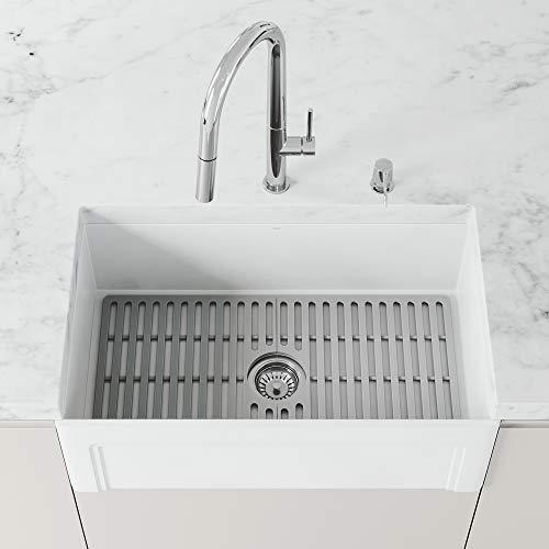 VIGO VGSG3318 29.5 in x 14.625 in Gray Silicone Kitchen Sink Protective Bottom Grid For Single Basin...