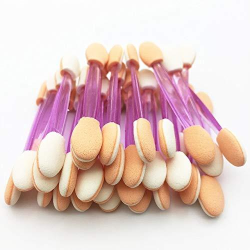 50pcs pinceau fard à paupières éponge bâton applicateur cosmétique outil de maquillage pinceaux de fard à paupières à double tête pour les femmes maquillages maquillage définit un 50 PCS-violet