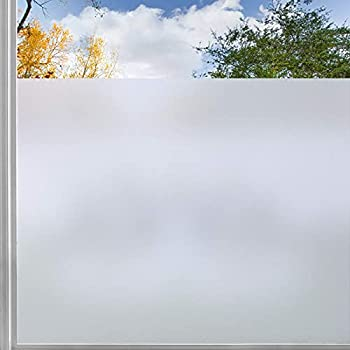 rabbitgoo Window Privacy Film Frosted Sticker with Grid Lines Backing Removable Opaque Sun Blocking Glass Covering Non-Adhesives Static Cling Vinyl Decals for Bathroom Matte Pure 17.5  x 78.7