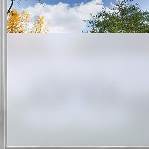 rabbitgoo Fensterfolie Milchglasfolie Sichtschutzfolie Selbstklebend Folie Fenster Scheibenfolie Blickdicht Anti-UV Statische Privatsphäre Schutzfolie Matt Für Bad Büro Wohnzimmer weiß 44.5 x 200 cm