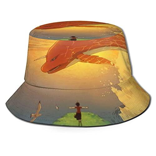 Big Fish und Begonia Travel Beach Fisherman Cap Wendbare Hüte mit breiter Krempe Unisex Black