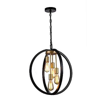 "Jinzo 20"" Farmhouse Industrial Chandelier 4-Lights Globe Rustic Pendant Light Matte Black Spherical Chandelier Modern Linear Metallic Hanging Pendant Light Fixtures"