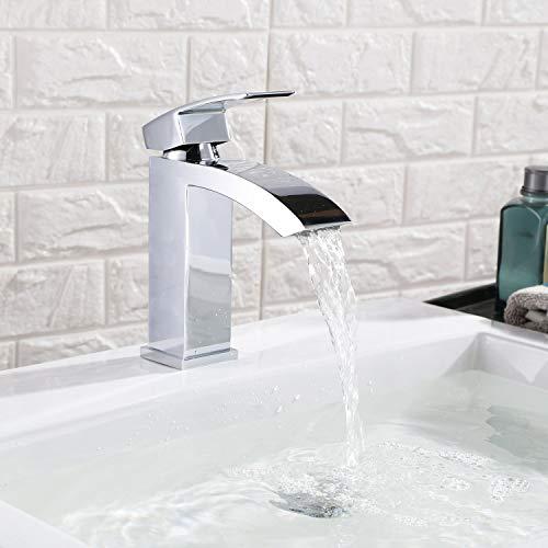 HOMFA Waschtischarmatur Einhelbel Wasserhahn Armatur wasserfall für Badezimmer Waschbecke - 8