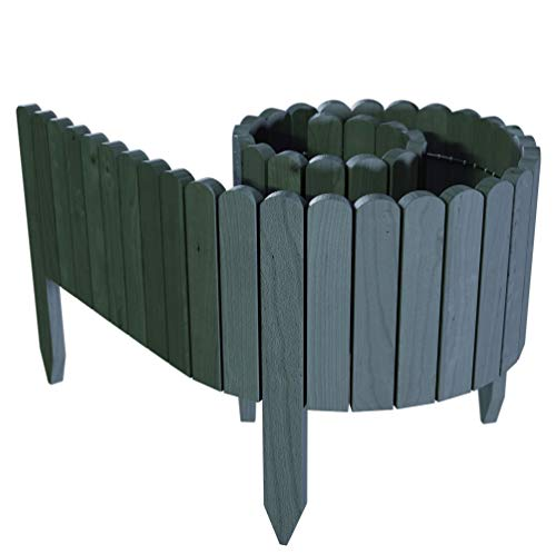 Floranica Spiked Log Roll Border as Easy Plug-in Fence, Palisade, 203 cm long (can be shortened) as Wooden Edging for Flower Beds, Lawns, Paths - Impregnated, Height:30 cm, Color:anthracite