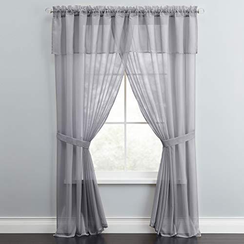 BrylaneHome Sheer Voile 5-Pc. One-Rod Curtain Set - 60I W 84I L, Slate