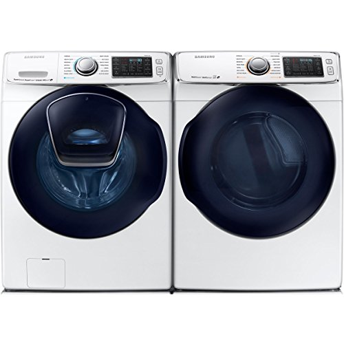 Bundle: White Samsung 5 Cu Ft Front Load Washer with Add Wash and 7.5 Cu Ft ELECTRIC Dryer Laundry Set WF50K7500AW DV50K7500EW
