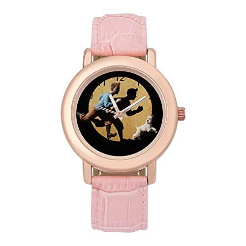 Adventures TintinsSeñoras Cinturón de Cuero Reloj de Cuarzo 2266 Cristal Espejo Redondo Rosa Casual Accesorios Moda Temperamento 1.5 pulgadas