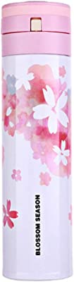 Cherry Blossom Creative Insulation Water Bottle Stainless Steel Portable Vacuum Thermos 450ML (White water ink flower)