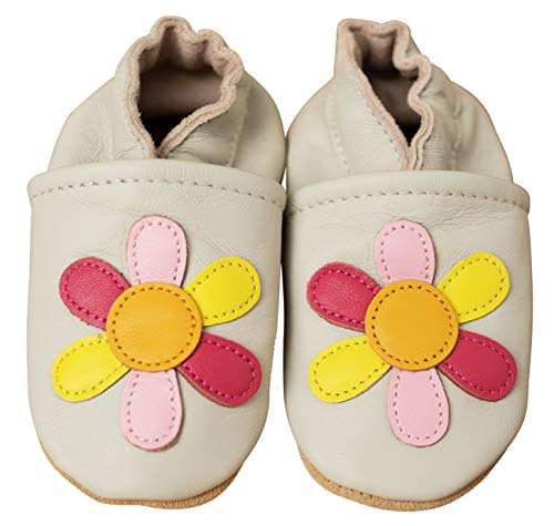 ENGEL + PIRATEN Krabbelschuhe - MARKENQUALITÄT VIELE Motive bis 4 Jahre Babyschuhe Leder Babyhausschuhe Lauflernschuhe Lederpuschen (18/19 EU, Blume Sand)