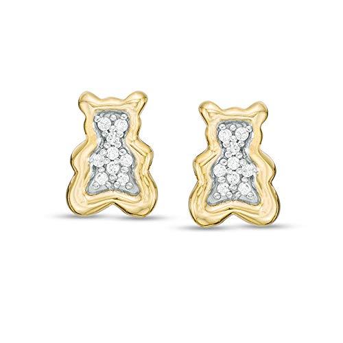 1/10 CT. T.W. Pendientes de tuerca de diamante D/VVS1 para niño en plata 925 chapada en oro amarillo de 10 quilates