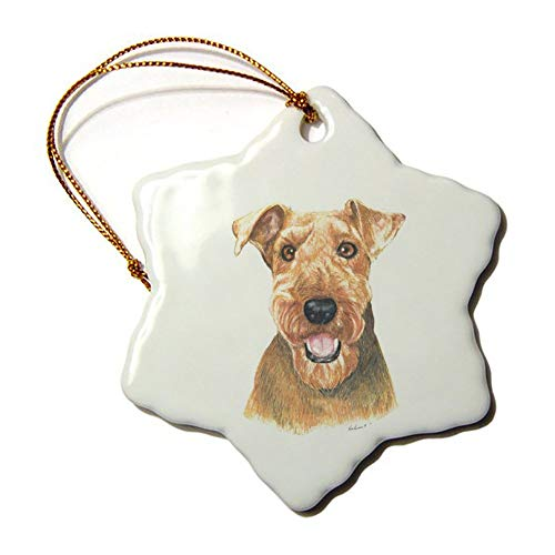 Christmas Snowflake Ornaments, Airedale Terrier Ornament Tree Hanging Decor Gift for Families Friends,3 Inch