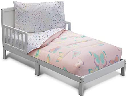 Delta Children Toddler Bedding Set Girls 4 Piece Collection Fitted Sheet Flat Top Sheet w Elastic product image