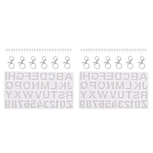 MagiDeal 2 Juegos de Moldes de Resina de Alfabeto Número de Letra hacia Atrás para Llavero