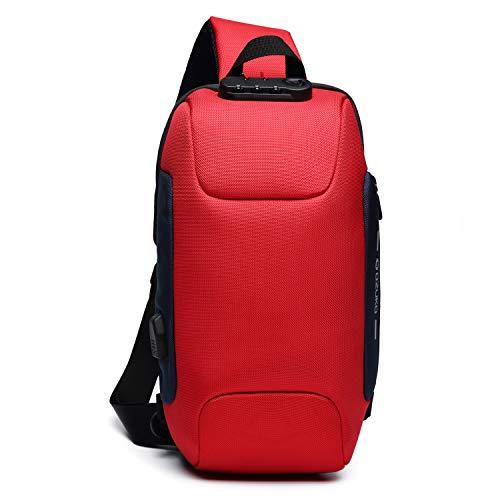 ボディバッグ USB充電ポート搭載 斜めがけ ワンショルダーバッグ メンズ 旅行カバン 盗難防止 防水 9.7インチiPad収納可能 (4.レッド)