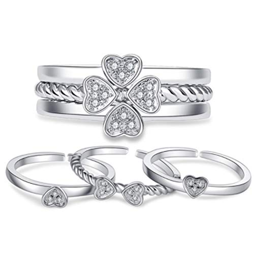 Edary Anillo de trébol de la suerte de cristal vintage, anillo de plata con forma de corazón, 3 en 1, anillos ajustables para mujeres y niñas (3 piezas)