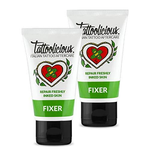 Tattoolicious DOUBLE FIXER - Crema lenitiva per tatuaggio appena eseguito, con Principi Attivi Bio dalle proprietà lenitive e calmanti, 150 ml Doppia Confezione (2 tubetti da 75 ml)