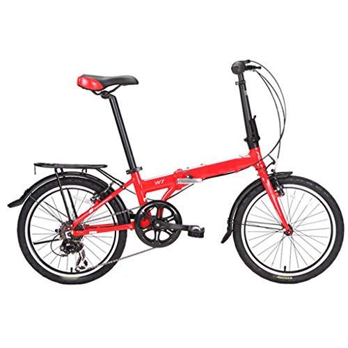 TYXTYX Bicicleta Plegable de Aluminio de 20 Pulgadas, Cambio de 6 Velocidades con Piñón Libre para Exterior,Ligera Bicicleta Plegable Urbana para Estudiante Unisex